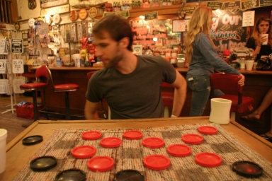 There is a point where you can't beat your opponent in checkers unless you make stupid, risky decisions on purpose.